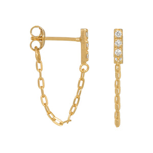 Zirconia Golden Chain - Earrings