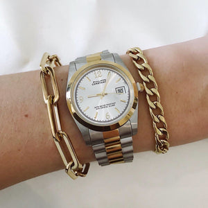 HORLOGE-ROLEX-LOOK-CHAIN-ARMBAND-SILVER-GOUD