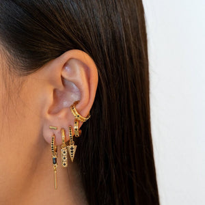 Mix & Match Single Black Zirconia Golden - Earring