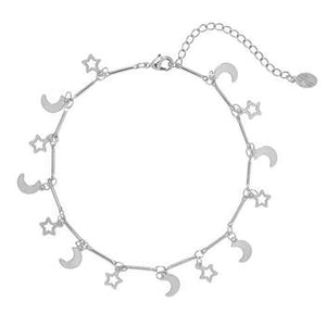 Moon And Stars Silver - Anklet
