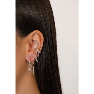 Black Zirconia Silver - Ear Cuff