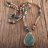Gold Electroplated Teardrop Beaded Boho Necklace in Blues and Browns and Golds