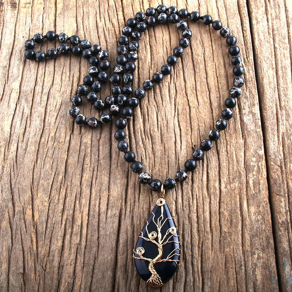 Obsidian Teardrop and Antique Gold Wire Wrapped Tree of Life Necklace
