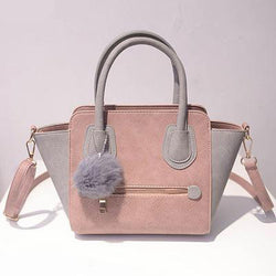 Suede Touch Women's Tote with Pompom