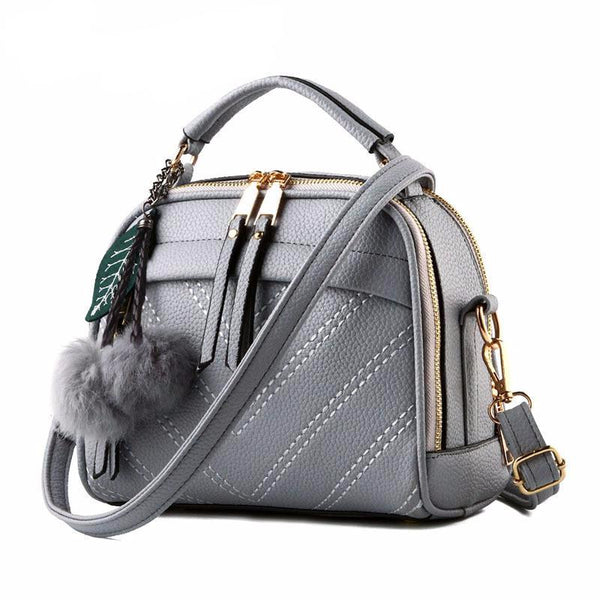 Women's Mini Handbag with Fur Pom Pom
