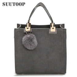 Women's Tote Bag with Fur Pompom