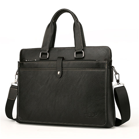 Simple Leather Briefcase Laptop Shoulder Bag