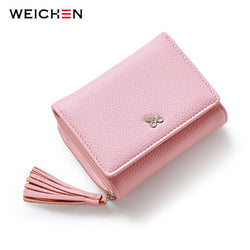 Women's Small Zipper Wallet with Tassel