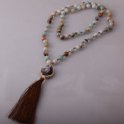 Amazonite Stones Rosary Long Tassel Necklace