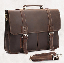 Vintage Crazy Horse Leather Briefcase Business bag