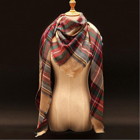 Oversized Triangle Plaid Cashmere Scarf - Wrap - Pashmina - Shawl