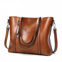 Famous Brands Leatherette Oil Wax Skin Tote Crossbody Bag