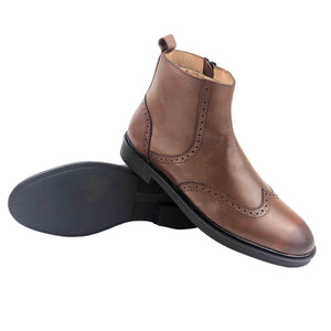 BO819-015 - BOTTINE Cuir TABAC| Chaussure Homme Classe Maroc