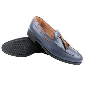 CH1402-015 - Chaussure cuir BLEU-TABAC - deluxe-maroc