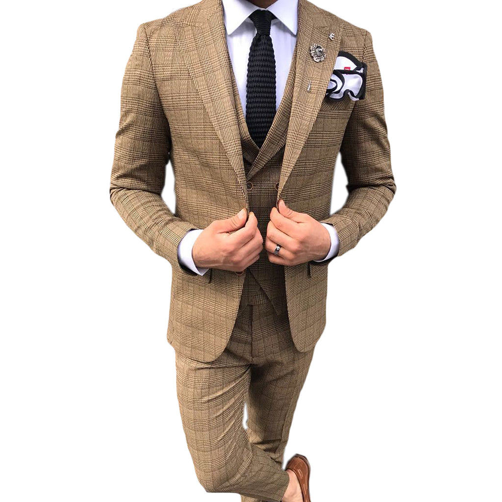 ESTHER.2-COSTUME CARREAU BEIGE | COSTUME HOMME MAROC
