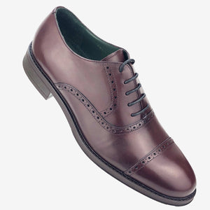 CH01-019  - Chaussure Cuir Bordeaux - deluxe-maroc