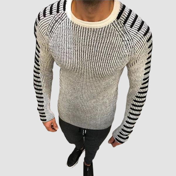 MARCO TRICOT BLANC RAYE | TRICOTS HOMME MAROC