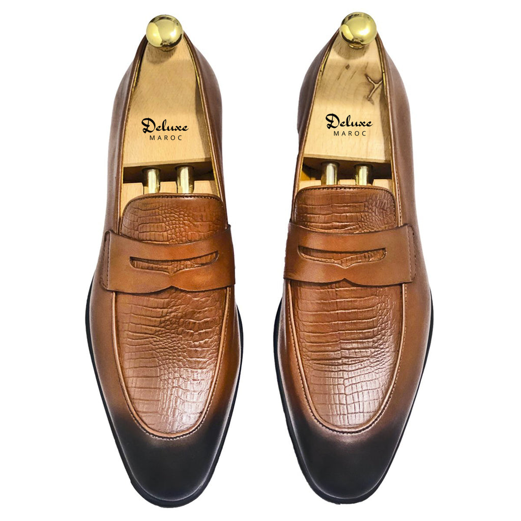 ALBERT- Chaussure Cuir Tabac - deluxe-maroc