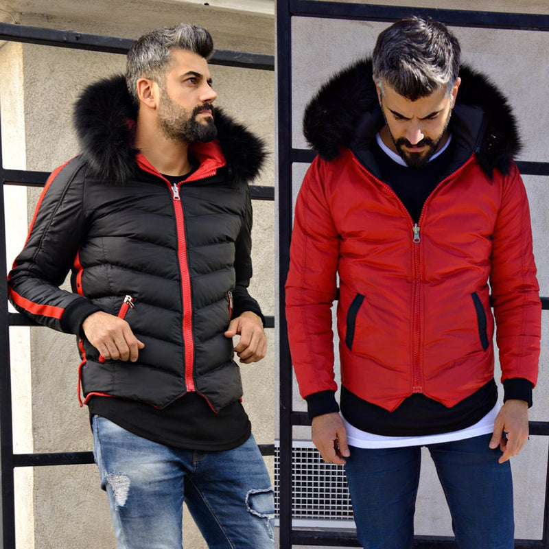 DOBLO - JACKET DOUBLE FACE NOIR-ROUGE | JACKET Homme