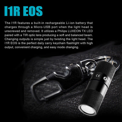 Olight i1R USB Rechargeable Keyring Torch 130 Lumens - Naa Gear