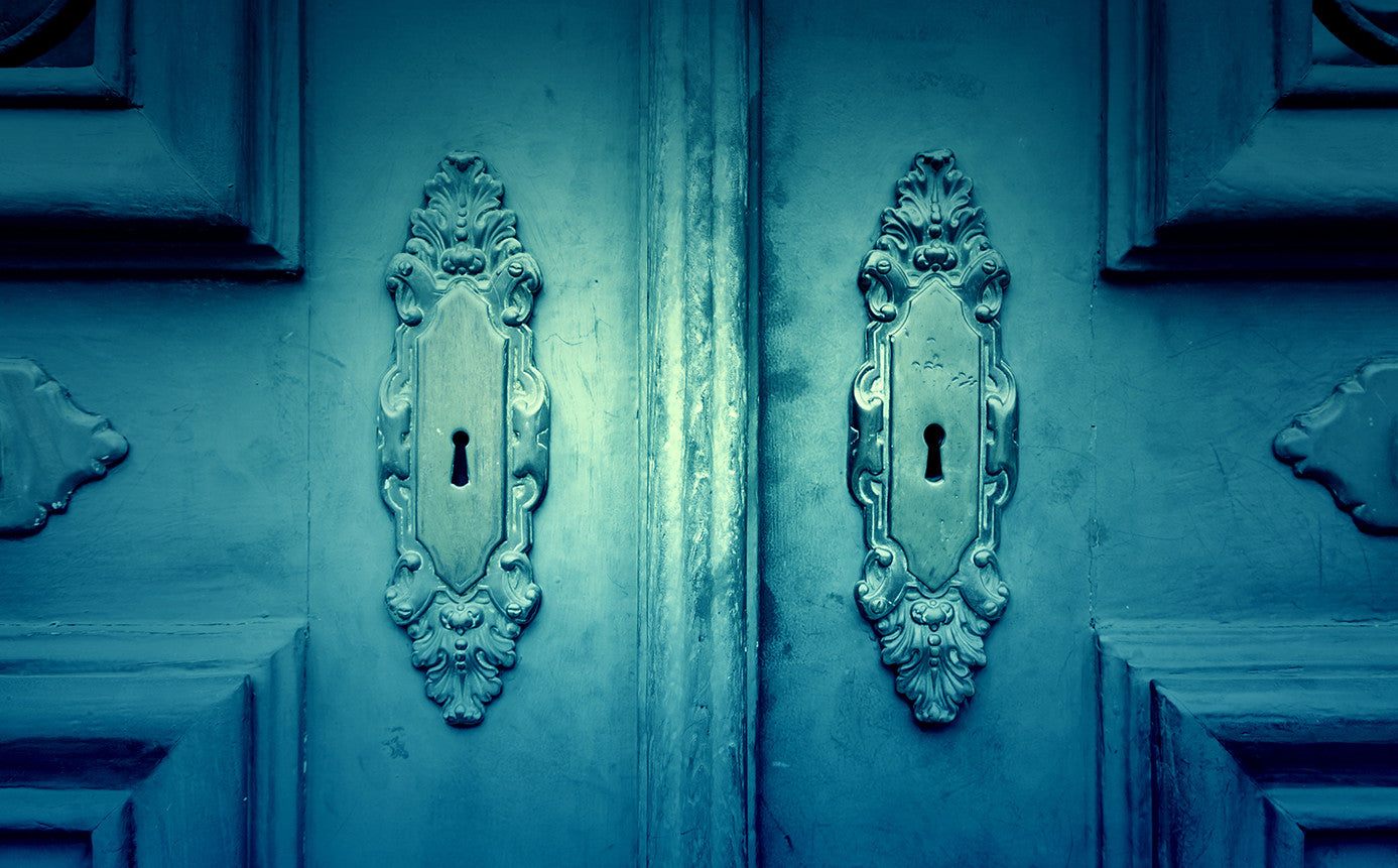 Image of regal blue doors with ornate locks and details in relief.  What will be the price of your escape?