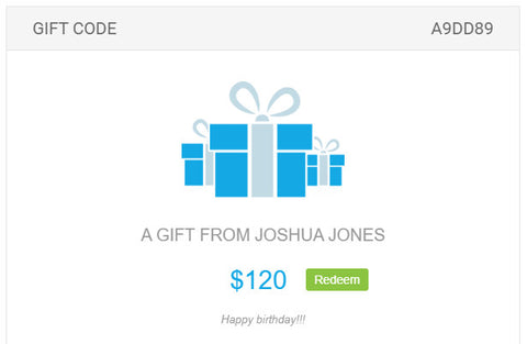 image of gift voucher email