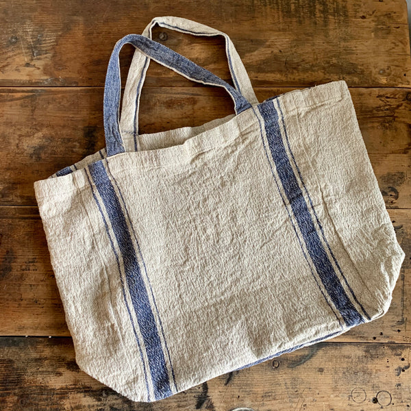 Stripe Linen Tote Bag - Blue