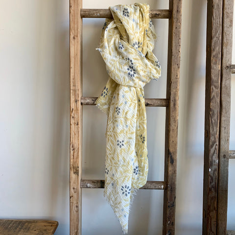 Spring Floral Scarf - Yellow