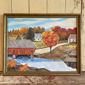 Vintage Framed Fall Scene Oil Painting