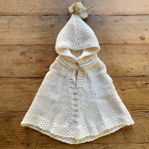 Hand Knit Kids Poncho - Cream