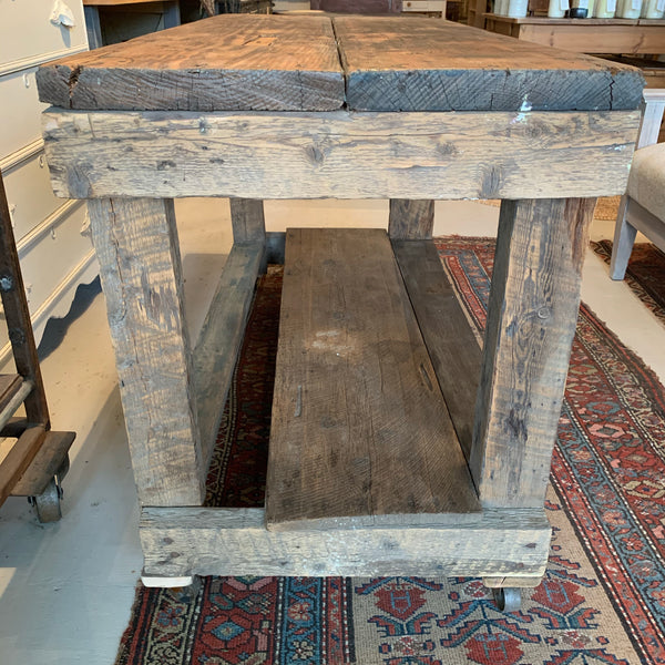 Vintage Rustic Table on Casters