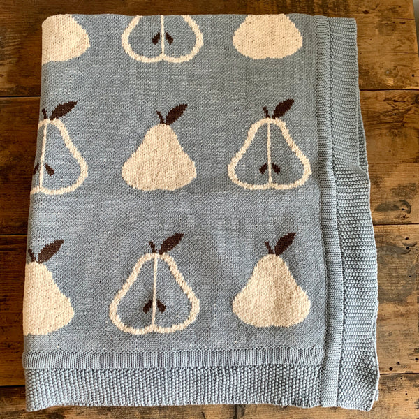 Knit Cotton Baby Blanket - Pear
