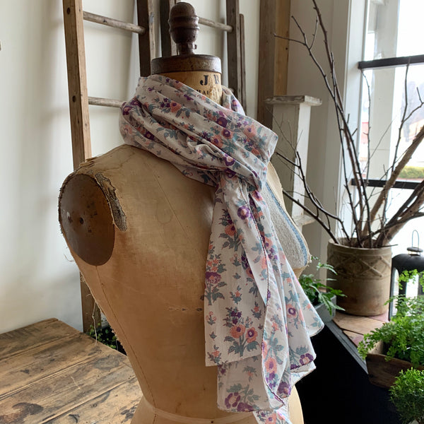 Hand Dyed Wood Block Print Scarf - White Floral
