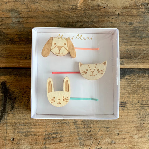 Wooden Animal Hair Slides