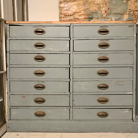 Vintage Blue-Gray Multidrawer Cabinet