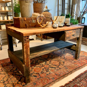 Vintage Workbench With Drawer