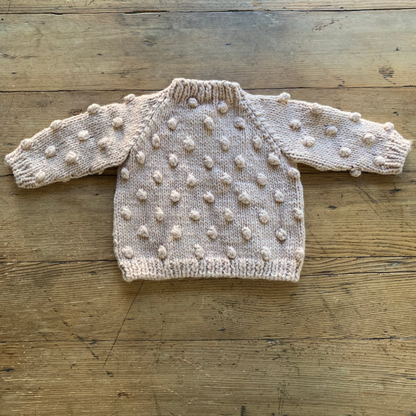 Hand Knit Kids Popcorn Sweater - Blush