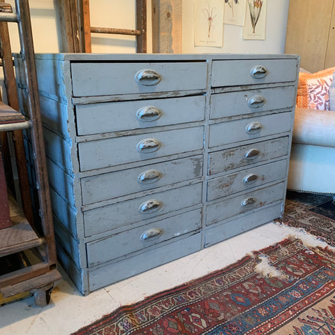 Vintage Blue/Gray Factory Multidrawer Cabinet