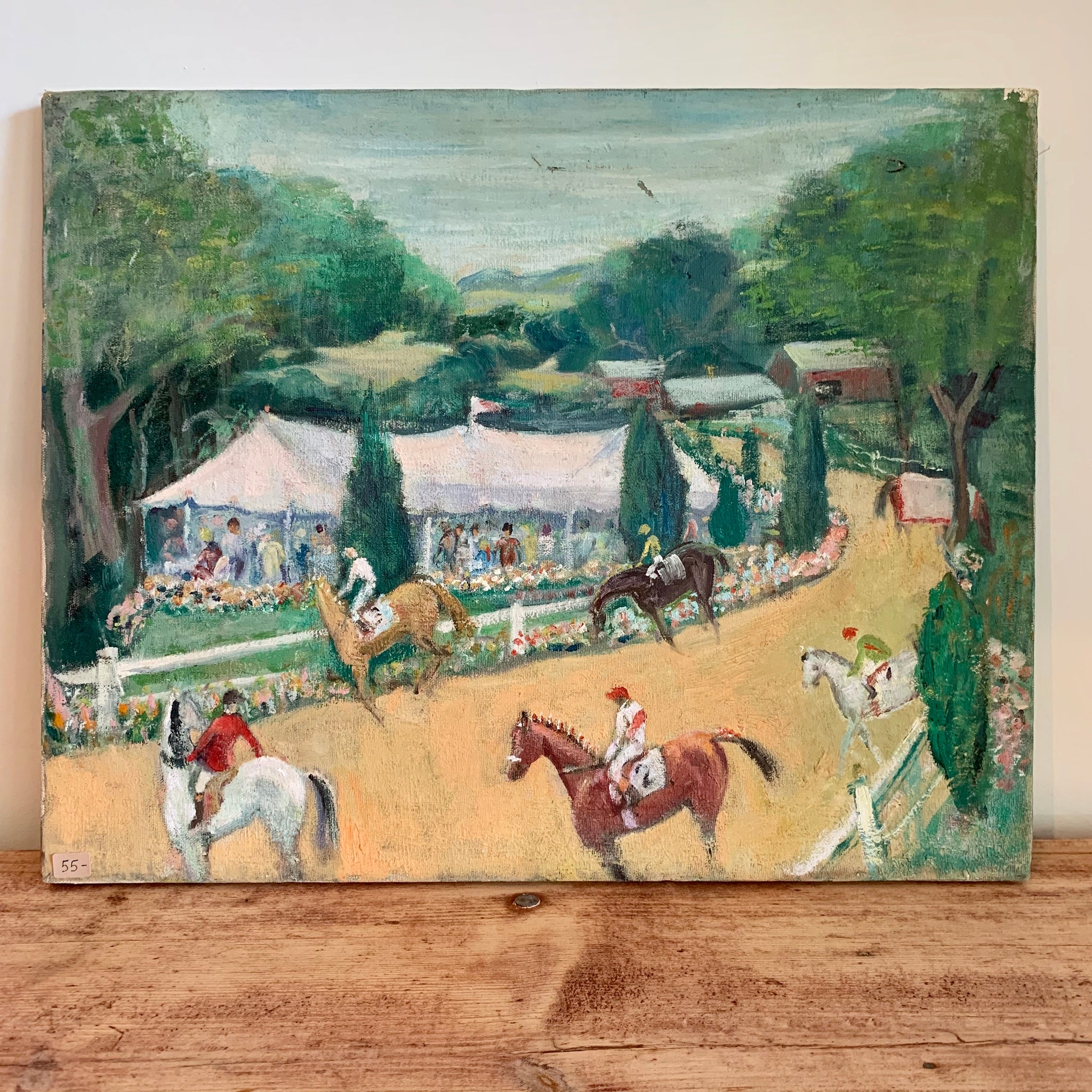Vintage Horse Racing Oil on Canvas Painting
