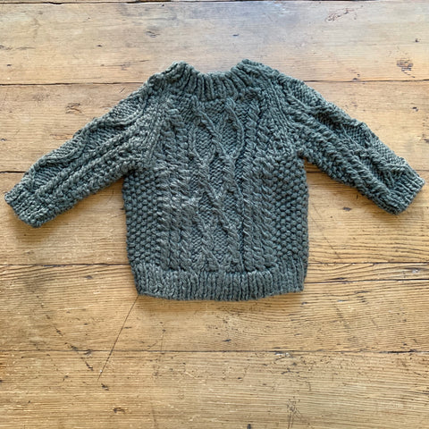 Hand Knit Kids Fisherman Sweater - Green