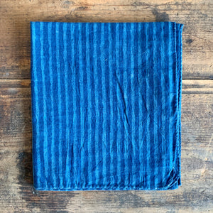 Hand Dyed, Wood Block Print Scarf - Blue Stripe