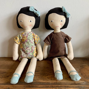 Fabric Doll with Reversible Dress - Dark Hair