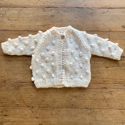 Hand Knit Kids Popcorn Sweater - Cream