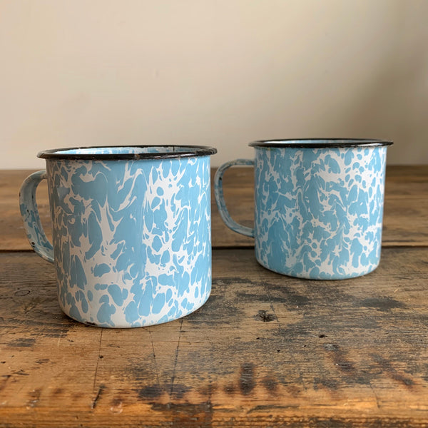 Pair of Vintage Enamel Mugs