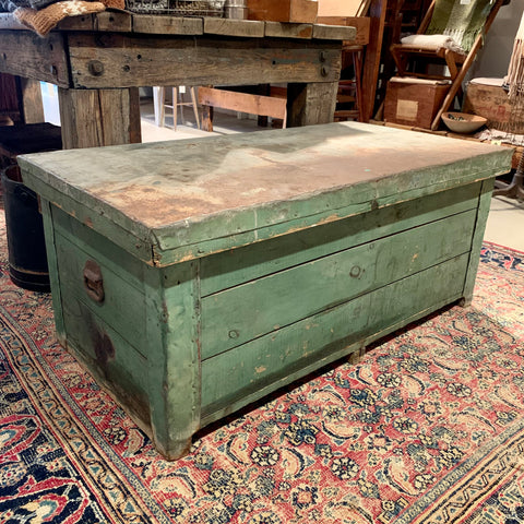 Vintage Zinc Top Green Chest