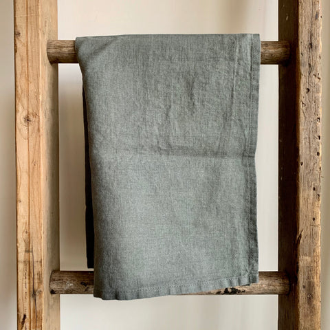 Washed Linen Tea Towel - Dark Gray/Green