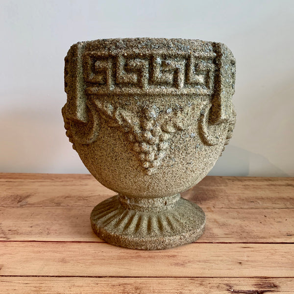 Vintage Greek Key Grapevine Cement Urn #1