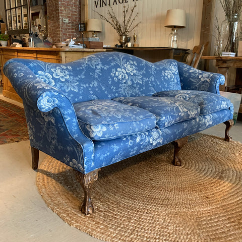 Antique Blue Floral Sofa