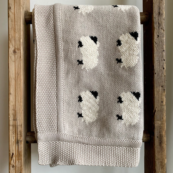 Knit Cotton Baby Blanket - Sheep