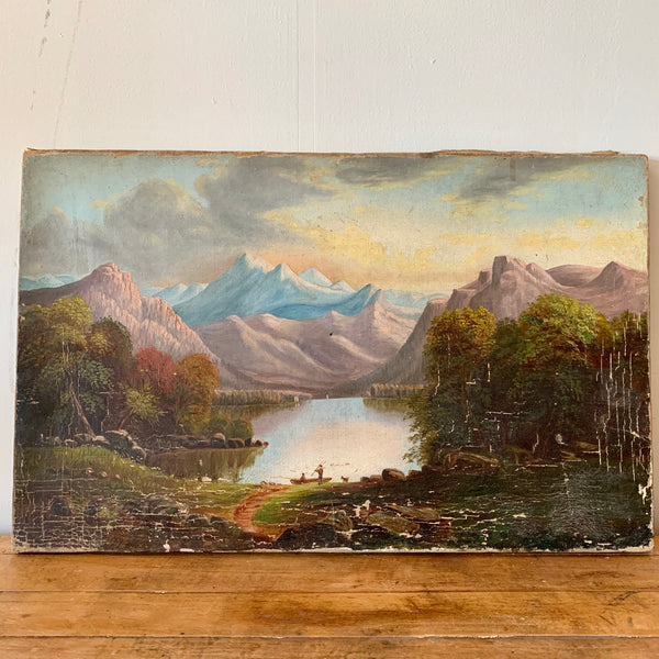Antique Mountain Oil on Canvas Painting